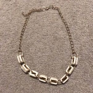 White and faux diamond chunky necklace